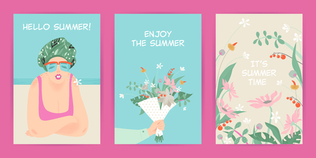 Set of vector greeting cards with summer illustrations of flowers and cute character Illustration