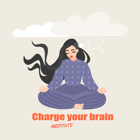 Pretty girl sits in a yoga pose and meditates. Conceptual image of the benefits of practicing meditative practices for brain development. Vector illustration in cartoon style.
