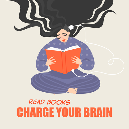 Pretty girl sitting and reading a book. A conceptual image of the benefits of reading for brain development. Vector illustration in cartoon style.