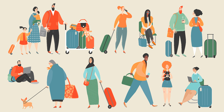 Set of vector illustrations of people at the airport or train station. Illustration in cartoon style.