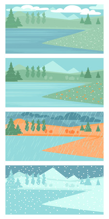 Set of vector illustrations of spring, summer, autumn and winter landscapes with with lakes and trees. Different weather