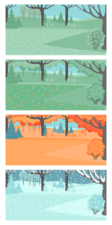 Set of vector illustrations of spring, summer, autumn and winter landscapes. Garden or park with a meadow in different weathers