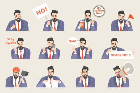 Set of vector office life sticker swith a funny cartoon office worker in a different emotional state. Icons for correspondence or presentations Illustration