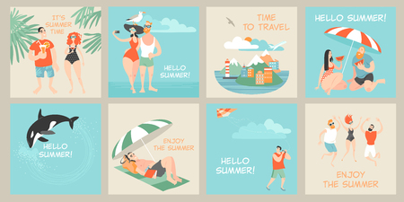 Set of vector cards with illustrations of cute cartoon characters enjoying summer. Summer design elements Stock Illustratie