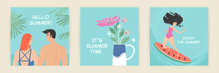 Set of vector greeting cards with summer illustrations of cute cartoon characters. Summer design elements Illustration
