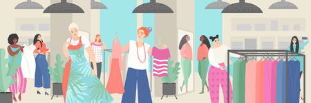 Young women choose clothes in the store. Big seasonal sale. Vector illustration in cartoon style.