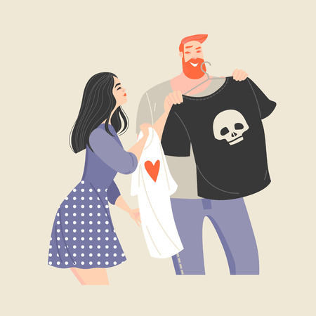 Funny cartoon couple choosing a shirt in the store. Characters for poster or flyer
