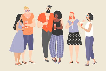 A group of young people enjoying cocktails. Boys and girls at the party. Vector characters