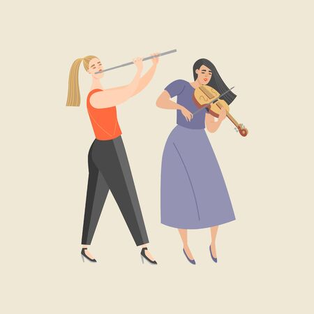 Two cute girls playing the violin and flute. Isolated characters of musicians for design banners or posters