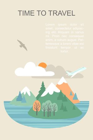 Vector banner with seascape illustration and text layout. Airplane flying against the backdrop of mountains and clouds