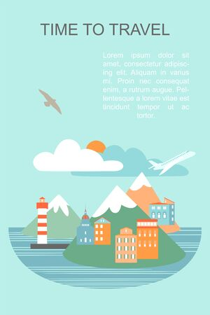 Vector banner with seaside city illustration and text layout. Airplane flying against the backdrop of mountains and clouds