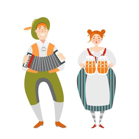 Oktoberfest illustration of funny cartoon couple with beer mugs. Ð¡haracters  in Bavarian costumes.