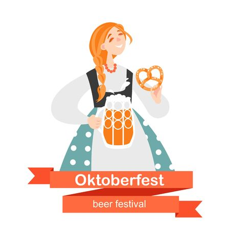 Girl with a beer and pretzel. Oktoberfest banner with funny cartoon character.