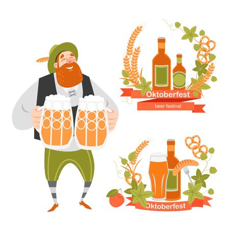 Oktoberfest banners  with funny cartoon character  in Bavarian costume with mugs of beer and wreaths of barley and hops on a white background.