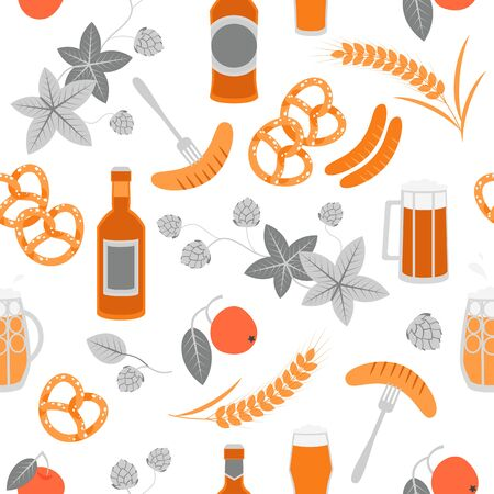 Seamless texture of beer, pretzels, sausages and barley on a white background. Oktoberfest symbols.