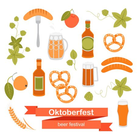Set of Oktoberfest beer symbols on a white background for  the design of tags, invitations and other promotional products.