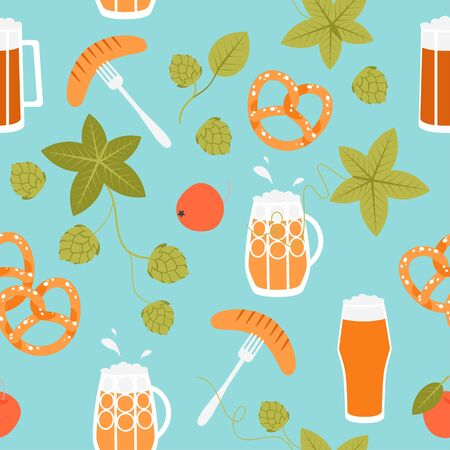 Seamless texture of Oktoberfest symbols on a blue background with beer mugs, pretzel, sausages and hops