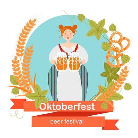 Oktoberfest banner with funny cartoon character in a wreath of barley and hops. A woman in Bavarian costume with a mugs of beer