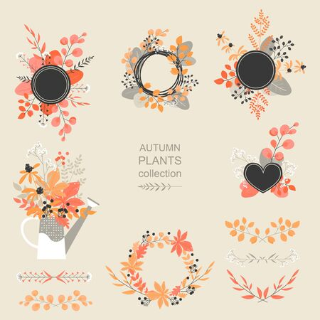 Set of vector autumn floral elements from flowers and leaves for banner or flyer design. Autumn in pastel colors.