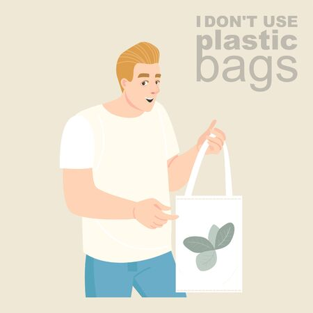 Vector illustration of a young man with an eco-friendly textile bag in his hands. Plastic bag rejection advertisement Illustration
