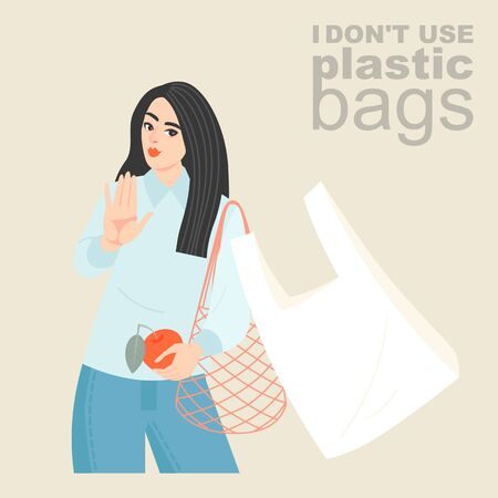 Vector illustration of a young woman with an eco-friendly mesh shopping bag refusing a plastic bag. Plastic bag opt-out banner