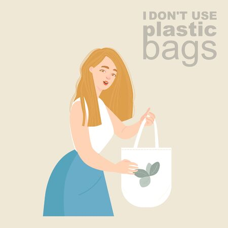 Vector illustration of a young woman with an eco-friendly textile bag in her hands. Plastic bag rejection advertisement Illustration