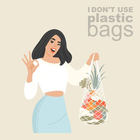 Vector illustration of a young woman with an eco-friendly textile shopping net in her hands. Plastic bag rejection advertisement