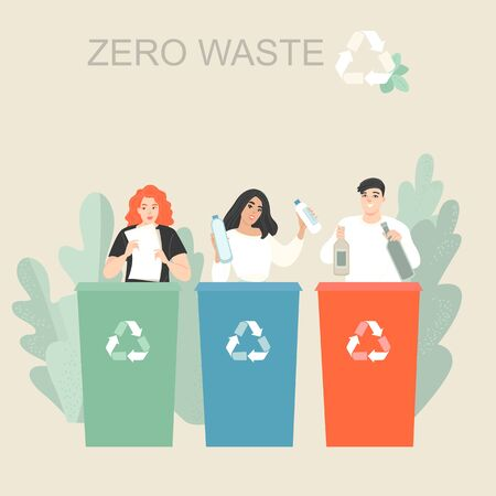 Vector illustration of young people sorting garbage and putting it in trash bins or containers. Recycling trash and zero waste lifestyle.