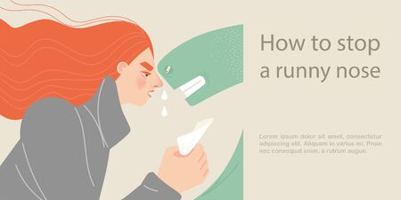 How to stop a runny nose. Symbolic illustration with a cold girl and a large green snake symbolizing the disease. Cartoon style image