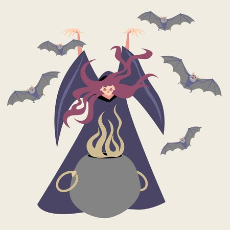 Fairy tale character in cartoon style. Illustration of witch