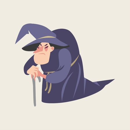 Vector illustration of fairy tale character. Old witch in cartoon style. Illustration