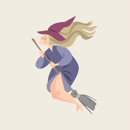 Vector illustration of fairy tale character.Young witch in cartoon style.