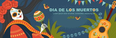 Vector banner for mexican day of the dead with a female skeleton in a traditional dress with a guitar and maracas. Illustration in cartoon style Illustration