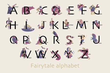 Set of fairytale characters in cartoon style. Funny characters and animals, monsters and heroes of folklore are isolated on a neutral background.