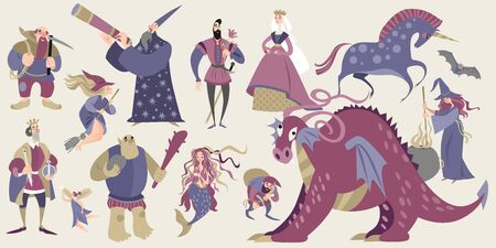 Set of fairytale characters in cartoon style.Funny characters and animals, monsters and heroes of folklore are isolated on a neutral background.