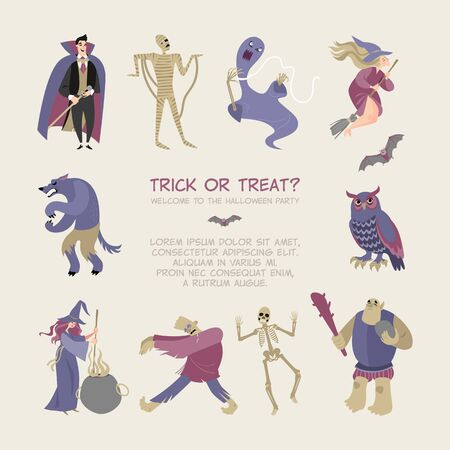 Halloween vector card with funny cartoon characters. Fairytale heroes and monsters in a flat style.