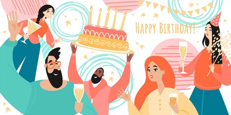 Birthday greeting banner template with cheerful young people drinking wine and a big cake. Cartoon vector illustration in a flat style. Standard-Bild - 147794134