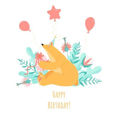 Birthday greeting card with a cute cartoon bear and balloons on a background of mint green plants. Illustration in a flat style.