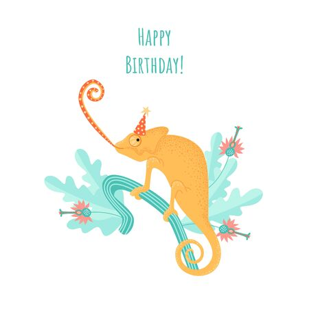 Birthday greeting card with a funny cartoon chameleon in a cap on a background of mint green plants. Illustration in a flat style.