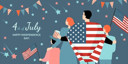 Happy Fourth of July. America Independence Day greeting banner template with happy family with flags watching fireworks. Vector illustration in a flat style. Vettoriali
