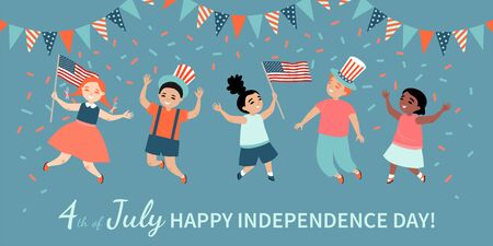 Happy Fourth of July. America Independence Day greeting banner template with happy kids with flags and hats jumping and having fun. Vector illustration in a flat style.
