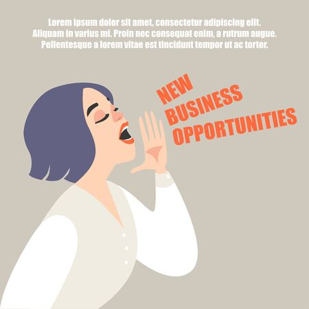 Vector illustration of a cartoon style girl holding palm near face and shouting. Symbolic image of advertising