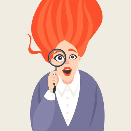 Vector illustration of a red-haired girl in cartoon style looking into a large magnifying glass. Conceptual image.