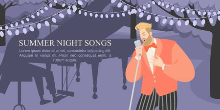 A man sings at a summer night concert in the park. Vector illustration with singer and grand piano for poster or banner design.