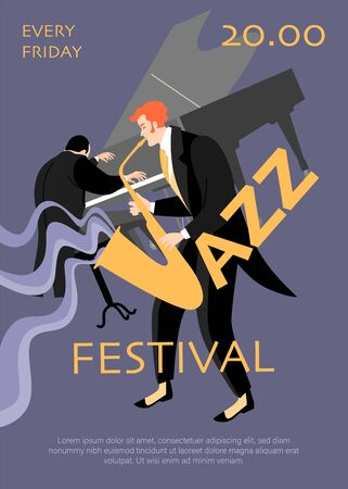Jazz festival banner with saxophonist and pianist on a dark blue background. Vector illustration in a flat style.