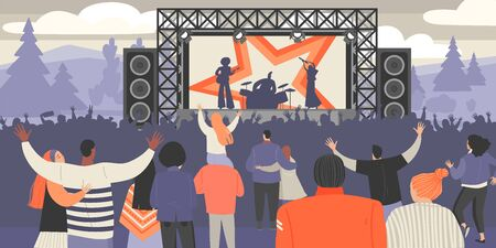 Open air music festival. Vector illustration of rock musicians and crowd of fans outdoors. 版權商用圖片 - 147874668