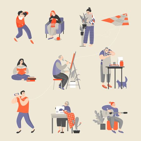 Set of characters engaged in their hobbies. Men and women taking pictures, knitting, floriculture, reading, painting, cooking, flying a kite, sewing and playing guitar. Vector cartoon illustration 向量圖像