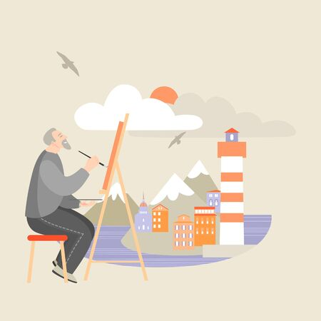 The artist at the easel paints a seascape with islands and a lighthouse. Vector illustration of an elderly man keen on his hobby