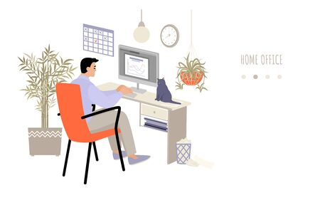 Home office concept with a man working at a computer in a cozy room. The employee works remotely. Vector illustration in a flat style on a white background. Ilustracja
