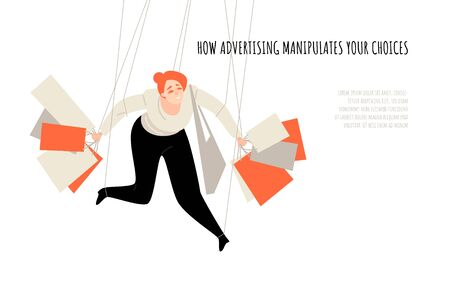 How advertising manipulates your choice. Conceptual illustration with a puppet holding shopping bags. Vector banner template in flat style.